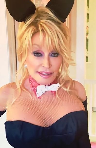 Dolly Parton re-created her Playboy Bunny magazine cover for husband.