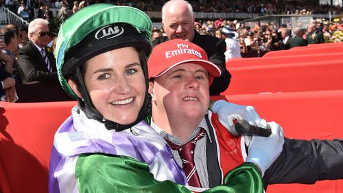 Michelle Payne with brother and strapper Steven. (AAP)