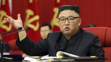 In this photo provided by the North Korean government, North Korean leader Kim Jong Un speaks during a Workers' Party meeting in Pyongyang, North Korea, Tuesday, June 15, 2021.