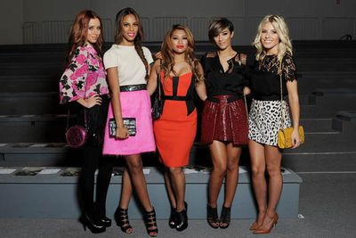 The Saturdays pop in bold colours.