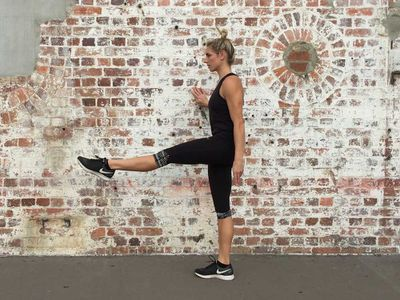 <p>Standing single straight-leg pulses, 15 reps each side</p>