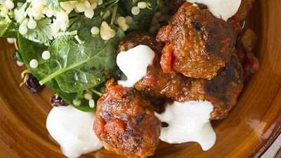 Lamb and eggplant kofte with pearl couscous
