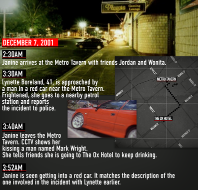 A timeline of events on the night Janine disappeared.