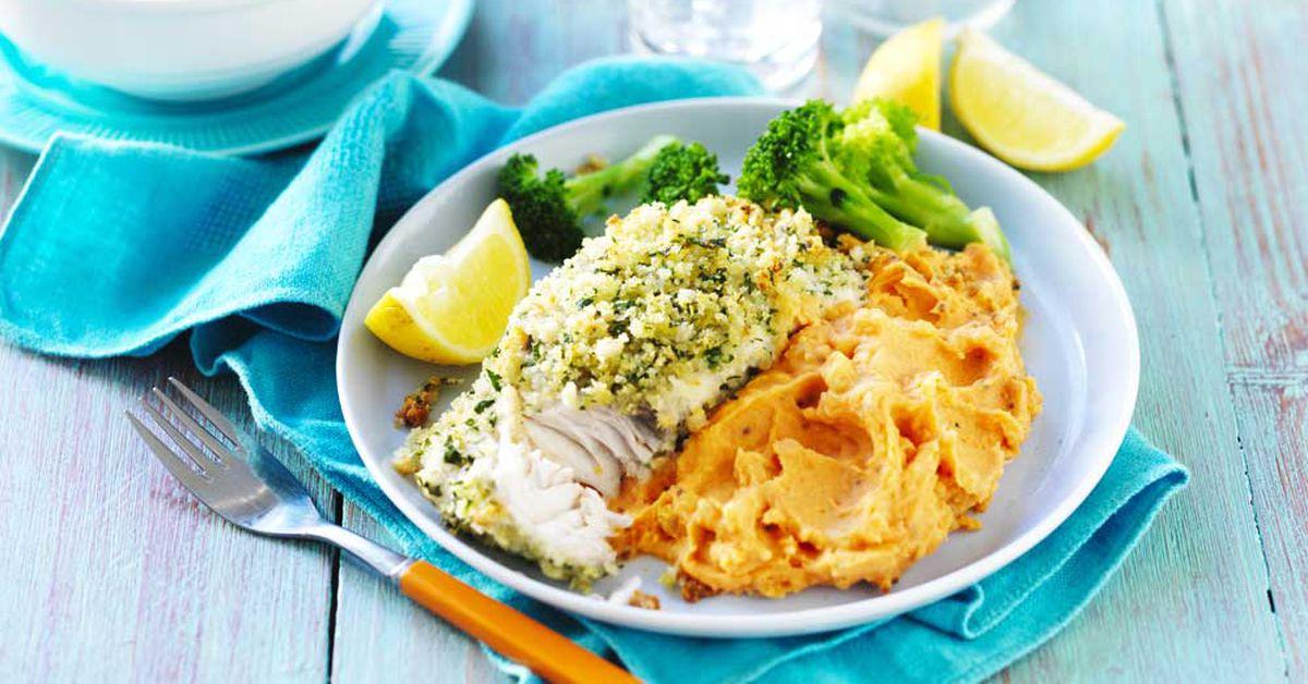 Lemon And Herb Fish With Sweet Potato Mash 9kitchen