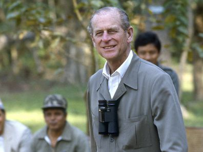 Prince Philip (Duke Of Edinburgh) walks through Chitwan Park in 1986  (Photo by Tim Graham Photo Library via Getty Images)