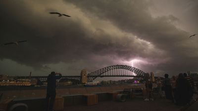 Lightning strikes light up Sydney's skyline