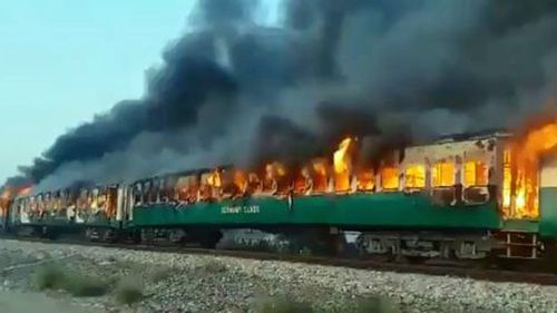 As many as 65 dead after train catches on fire in Pakistan