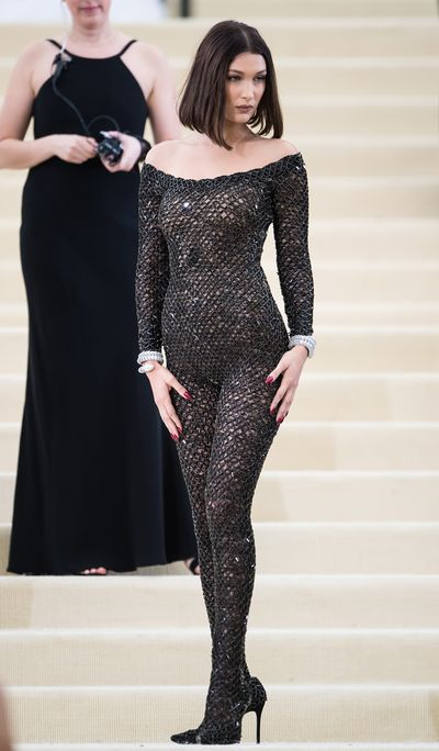 <p>5.Last year supermodel Bella Hadid followed the Beyonce rule of less is more in a glittering Alexander Wang catsuit at the 'Rei Kawakubo/Comme des Garcons: Art Of The In-Between' Costume Institute Gala.</p> <p>It was entirely off theme but Bella wasn't worried.</p>