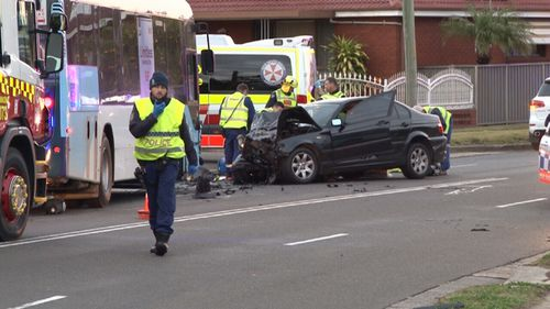 The driver of the black sedan died at the scene. Image: 9News