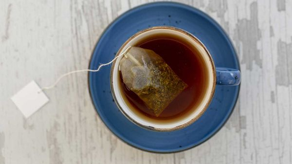 Cup of tea with tea bag in