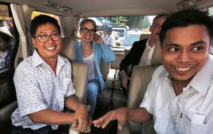 Jailed reporters freed in Myanmar