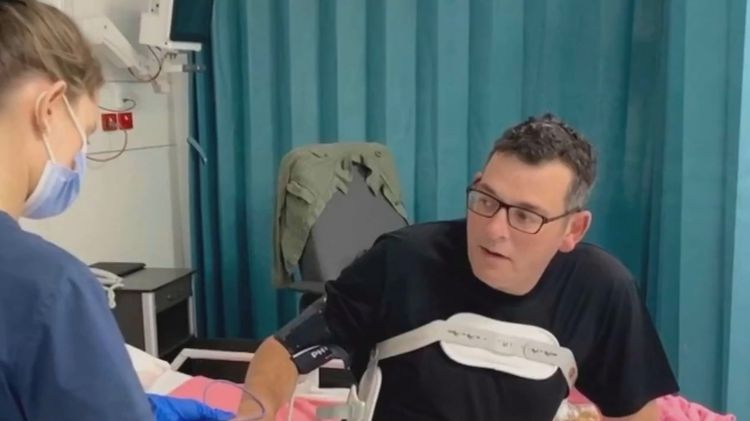 Victorian premier recovering from in nasty fall shares photo from hospital bed
