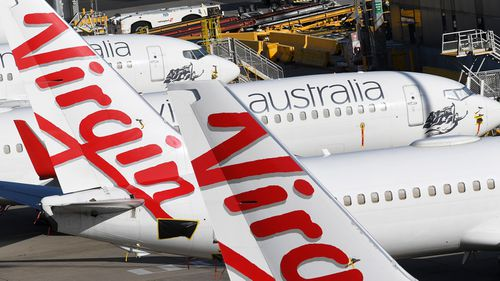 Grounded Virgin Australia planes are seen at Tullamarine Airport in Melbourne
