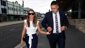 Jarryd Hayne arrived at court today with his partner.