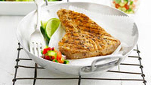Cajun crusted tuna with salsa