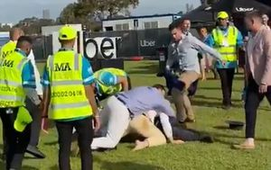 Wild punches thrown during Melbourne Cup brawl near corporate marquee