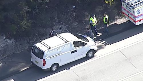 Police have set up a crime scene and closed down the northbound lane of the M1 Motorway. Picture: 9NEWS