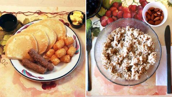 Processed vs unprocessed breakfasts