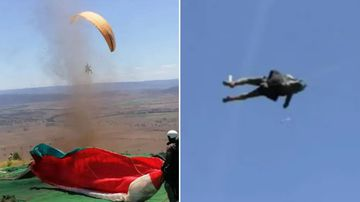 A man preparing to set off on a paragliding trip has received the fright of his life after a dust devil formed and swept him over a cliff.