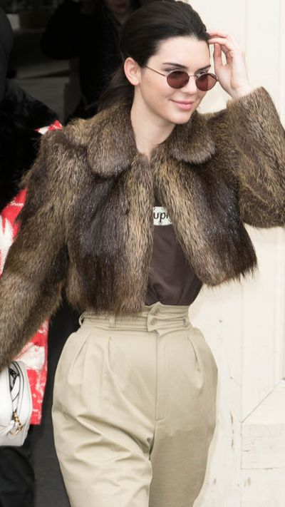 Kendall Jenner is at the fur forefront on the streets of Paris.