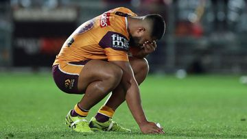 Payne Haas of the Broncos looks dejected during the round eight NRL match between the New Zealand Warriors and the Brisbane Broncos at Central Coast Stadium on July 04, 2020 in Gosford, Australia