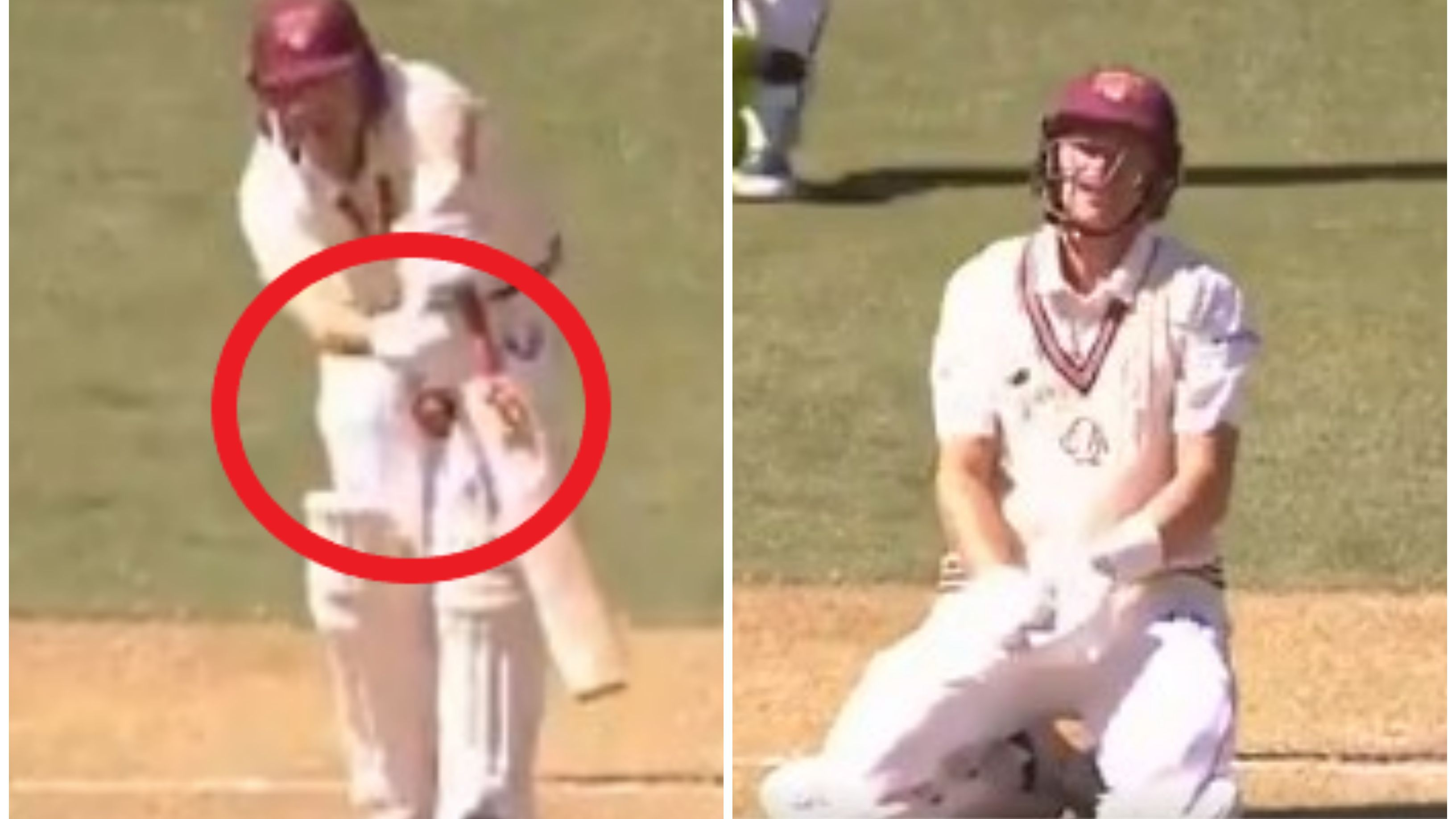 Marnus Labuschagne was dropped by a nasty hit to the groin.