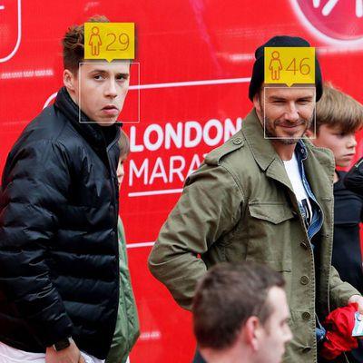 <p>Brooklyn Beckham, 16, and David Beckham, 40</p>