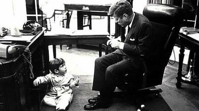 John F Kennedy and his son John F Kennedy Jr in the White House in the early 1960s.