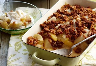 """Recipe: <a href=""""http://kitchen.nine.com.au/2016/05/16/17/40/apple-pear-anzac-biscuit-crumble"""" target=""""_top"""">Apple, pear and Anzac biscuit crumble</a>"""