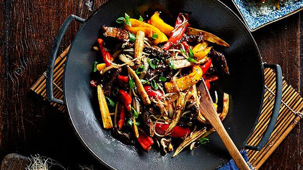Beef and black bean stir-fry with baby corn