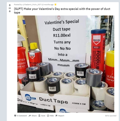 Reddit Valentine's Day duct tape post