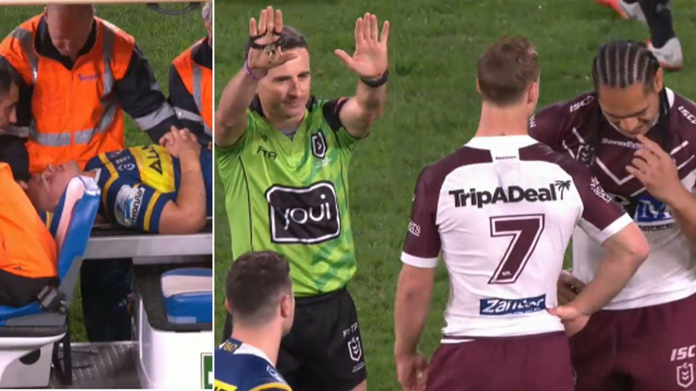 Sea Eagles' Martin Taupau cited for high tackle as Ray Stone stretchered off