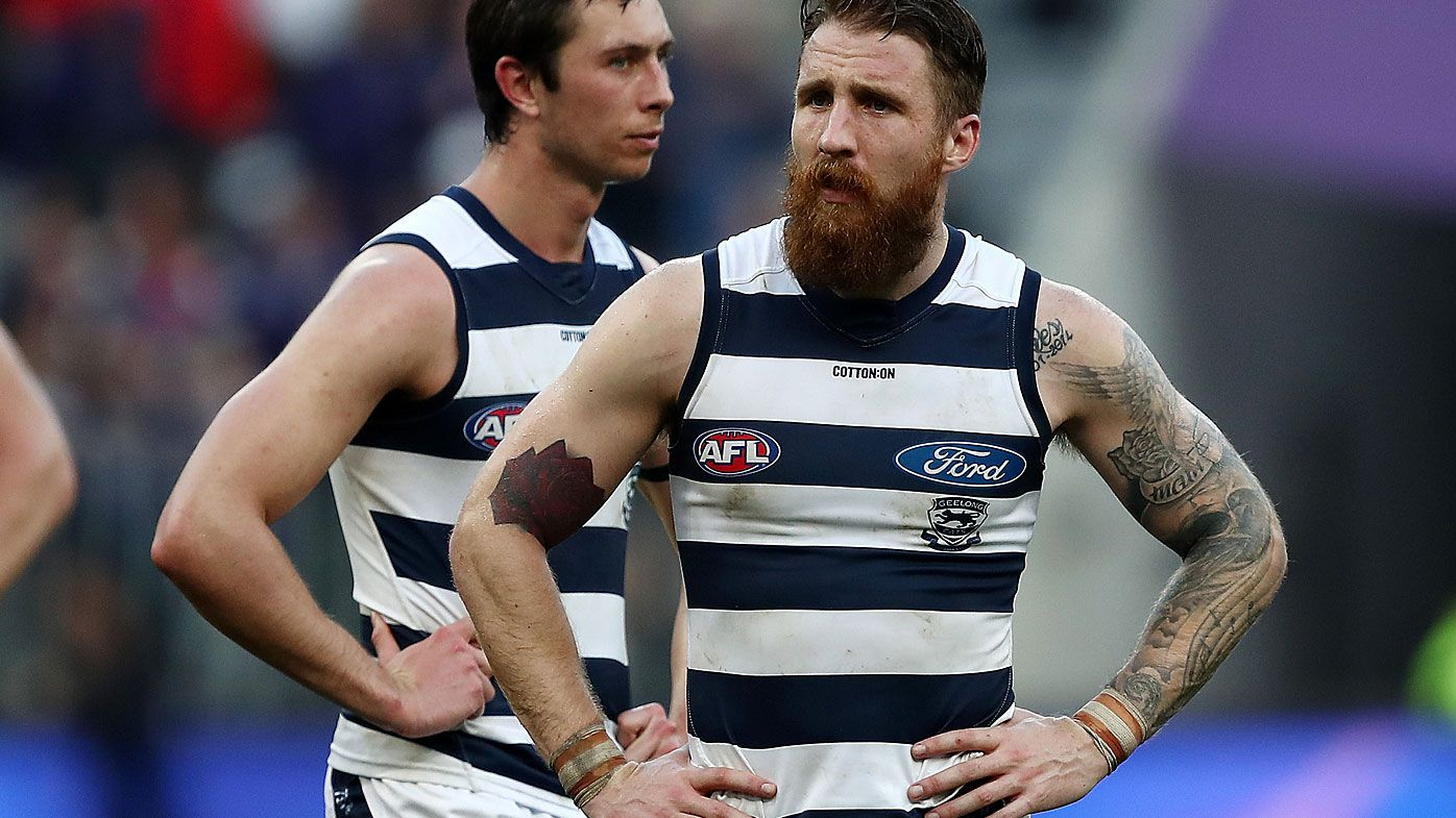 Zach Tuohy of the Cats looks dejected after the Round 20