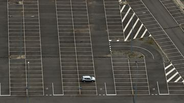 A lone vehicle is seen at the Melbourne International Airport long term car park on August 26