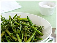Rocket, green bean and asparagus salad