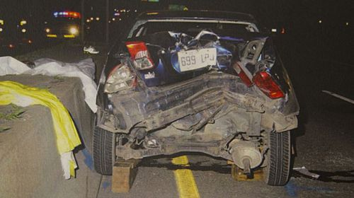 Emma Czornobaj's car after an accident. (Supplied)