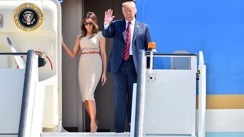 US President Donald Trump and First Lady Melania Trump arrive in London for a four day visit to the UK. Picture: AAP