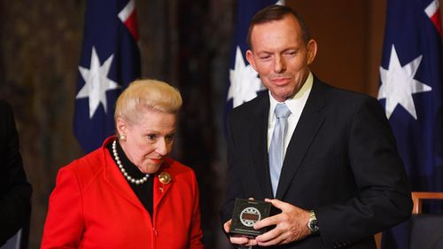 Former Speaker Bronwyn Bishop with Tony Abbott in June. (AAP)