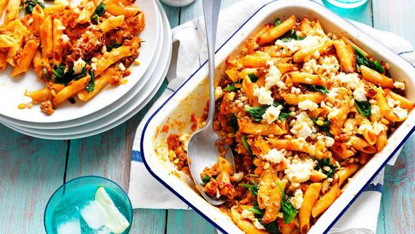 """Recipe:&nbsp;<a href=""""http://kitchen.nine.com.au/2017/05/13/22/03/sweet-potato-pasta-bake-with-spinach-and-pine-nuts"""" target=""""_top"""" draggable=""""false"""">Beef and sweet potato pasta bake with spinach and pine nuts</a>"""