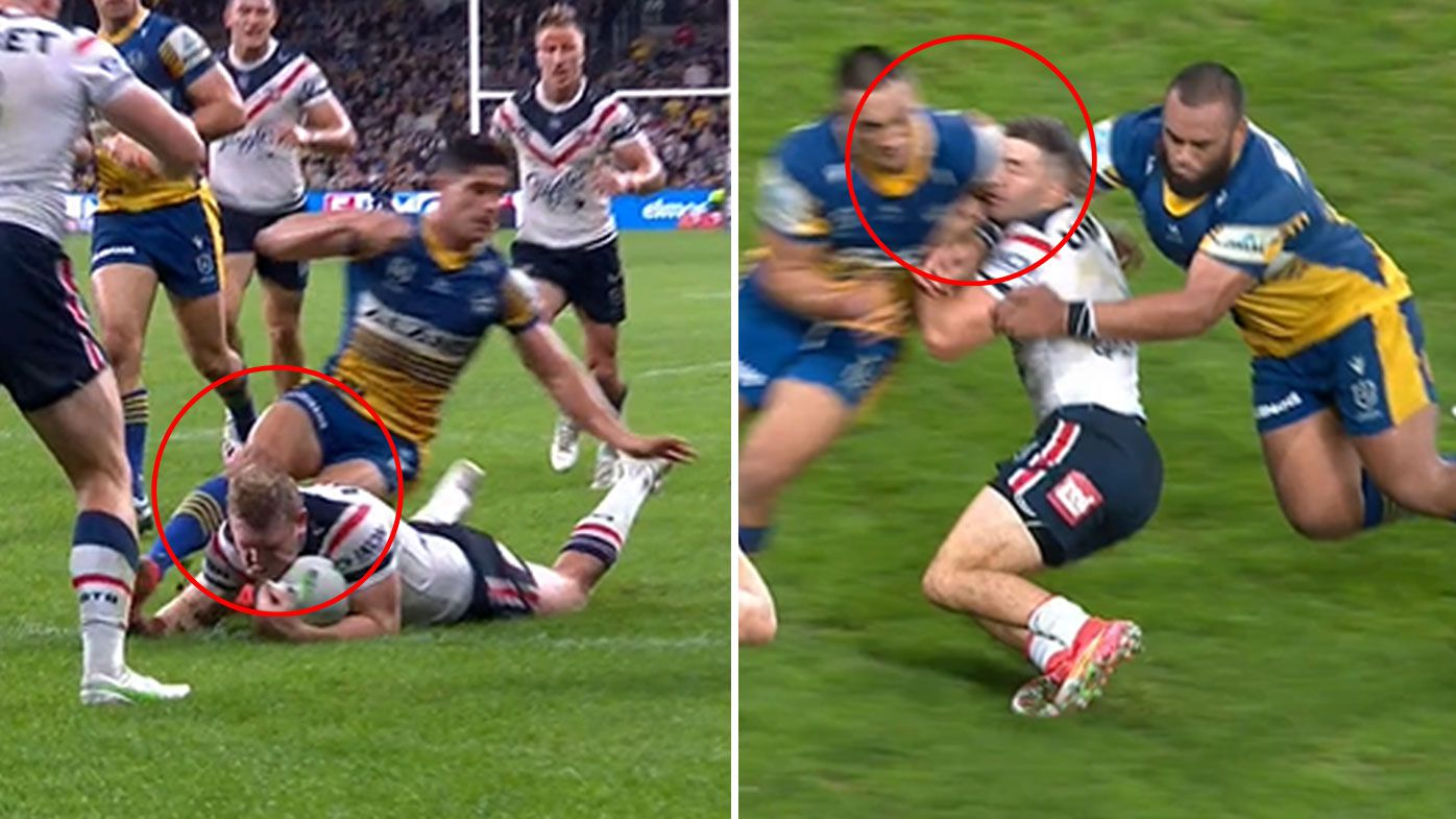 Parramatta stars Dylan Brown, Marata Niukore face lengthy bans following Roosters clash
