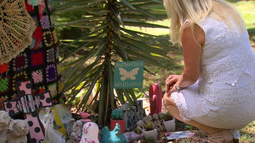 Ms Anderson at the memorial site. (9NEWS)