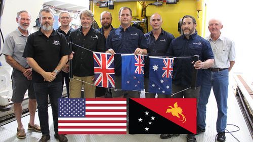 Members of the HMAS AE1 survey expedition crew, from left, Rear Admiral Peter Briggs AO CSC RAN (Rtd), James Hunter, Andrew Woods, Rob Kraft, Patrick Travis, Richard Seabrook, Paul Mater, Rudi Schlepp and Roger Turner.