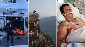 A teenager has reunited with the paramedics who saved him after he fell 30 metres off a Blue Mountains cliff in January.