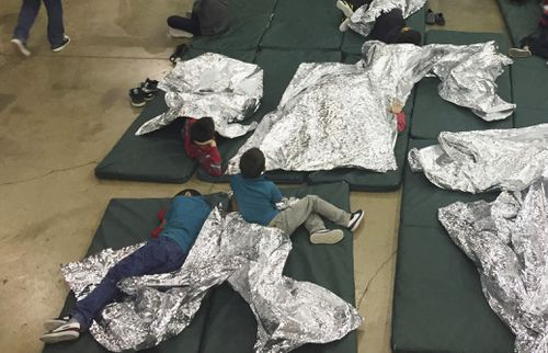 These people are being detained in McAllen in Texas. Picture: AAP