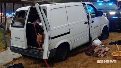 A woman in the US has been found locked in a cage inside a white van after a stranger called police, suspecting something was not quite right.