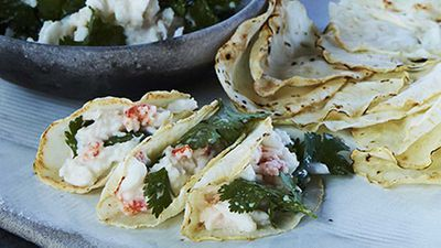 "Recipe: <a href=""http://kitchen.nine.com.au/2017/10/04/12/11/mark-bests-crab-and-celeriac-tacos"" target=""_top"">Mark Best's crab and celeriac tacos</a>"