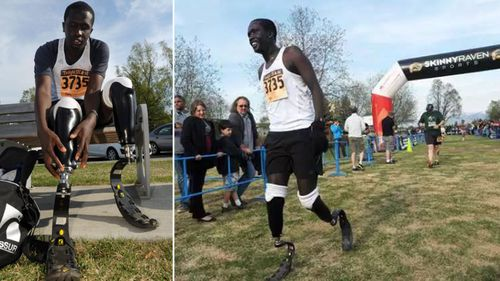 Marko Cheseto preparing his prosthetic feet, left, and finishing a running event in Alaska.