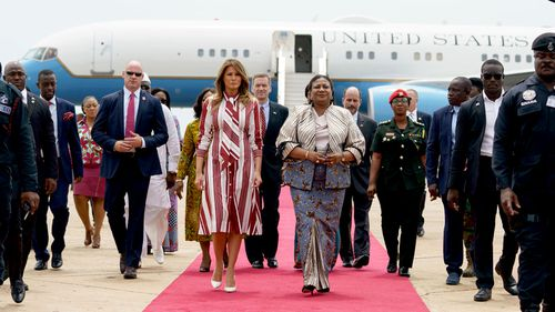 US First Lady Melania Trump arrives for solo tour of Ghana