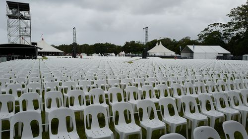 Rows of chairs set up for the now-cancelled Bluesfest.