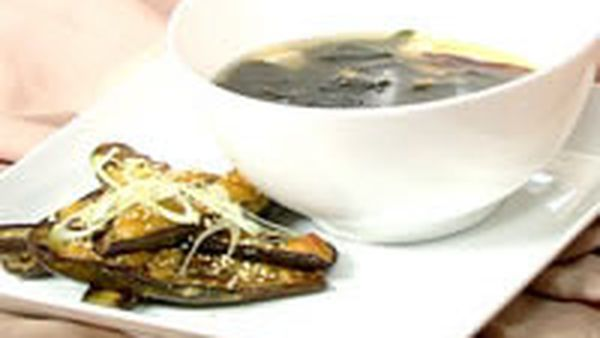 Japanese miso eggplant and miso soup